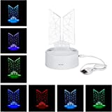 Kpop BTS Bangtan Boys 7 colores LED noche luz USB acrílico decoración del hogar habitación para regalos del ejército