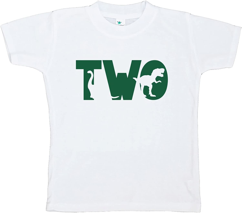 7 ate 9 Apparel Two Second Birthday Dinosaur T-Shirt