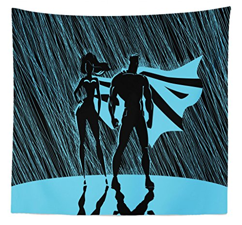 Lunarable Superhero Tapestry Queen Size, Silhouette Superhero Couple