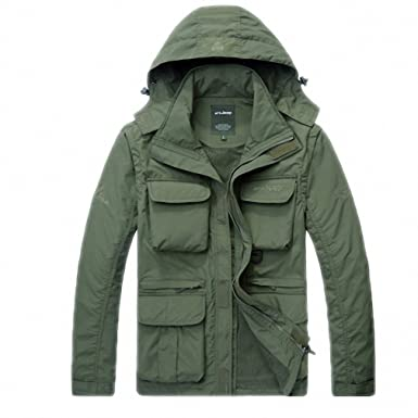 NEW Mens Jacket Army Casual Hooded Mesh Bomber Jacket Men Outerwear Windproof Coat Army Green M