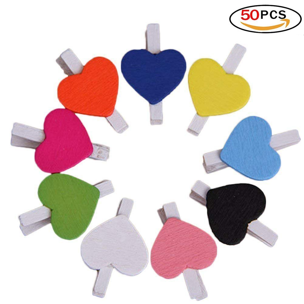 Portafotos lumanuby 50pcs Mini Sweet Love Clips de forma de corazón de madera mensaje tarjeta papel Pegs Decor Photography- Colorful
