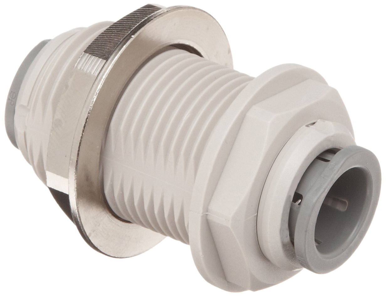 "John Guest Acetal Copolymer Tube Fitting, Bulkhead Union, 1/2"" Tube OD (Pack of 5)"