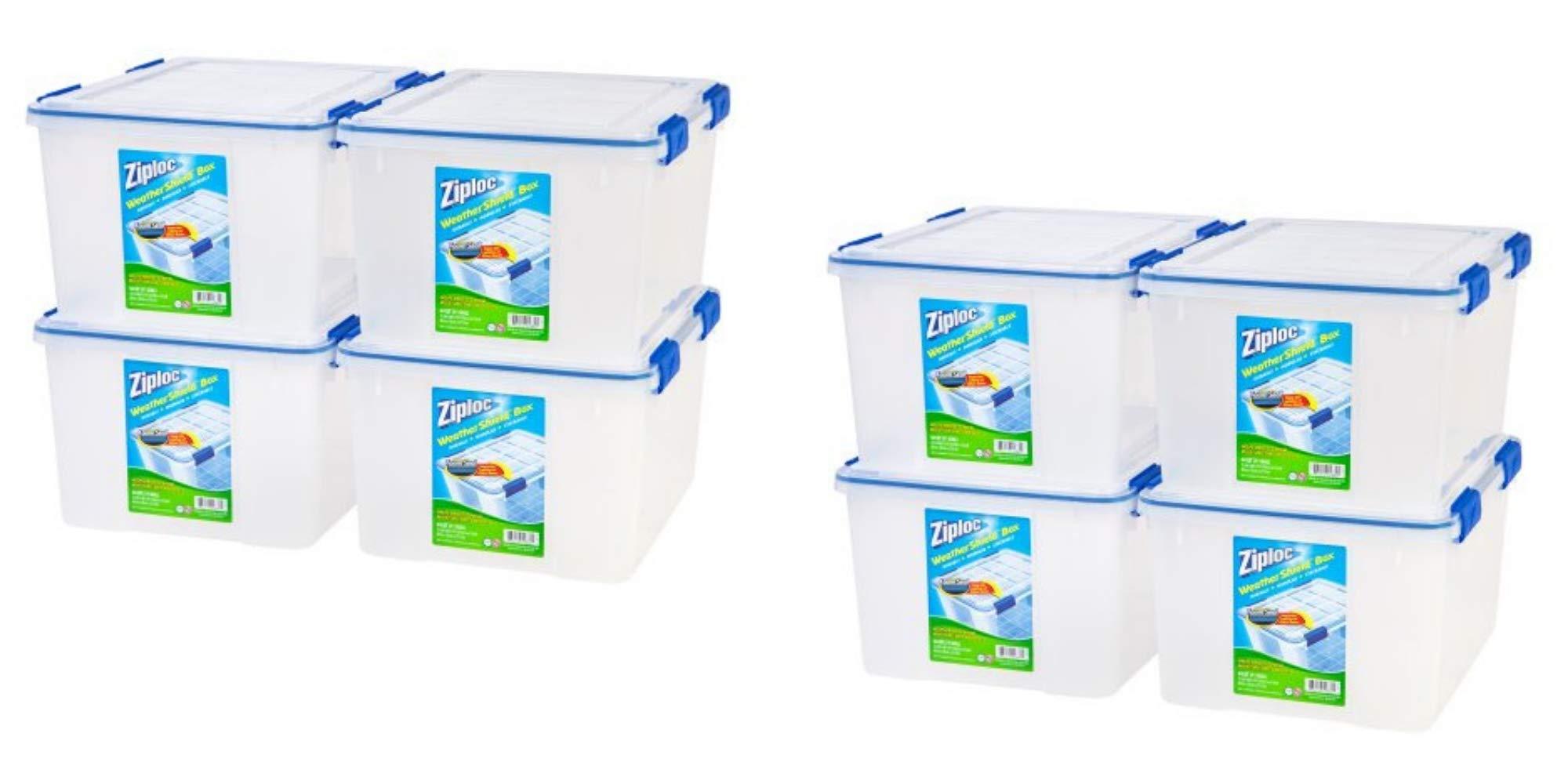 IRIS USA, Inc. Ziploc 44 Qt./11 Gal. WeatherShield Storage Box, Clear/Pack of 8