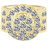 HIP HOP Round Cubic Zirconia Men's Wedding Band Ring 14K Yellow Gold Over Sterling Silver (10.71 Cttw) Ring Size - 13.5