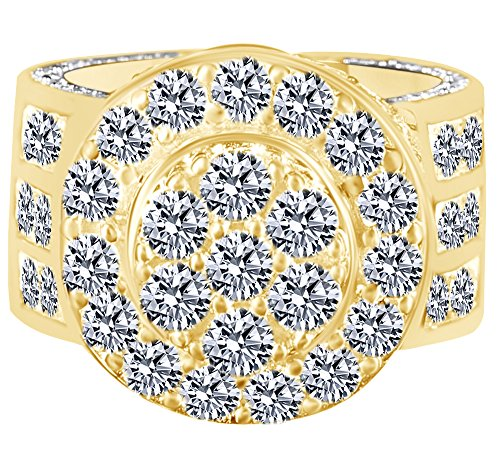 HIP HOP Round Cubic Zirconia Men's Wedding Band Ring 14K Yellow Gold Over Sterling Silver (10.71 Cttw) Ring Size - 5.5 by AFFY