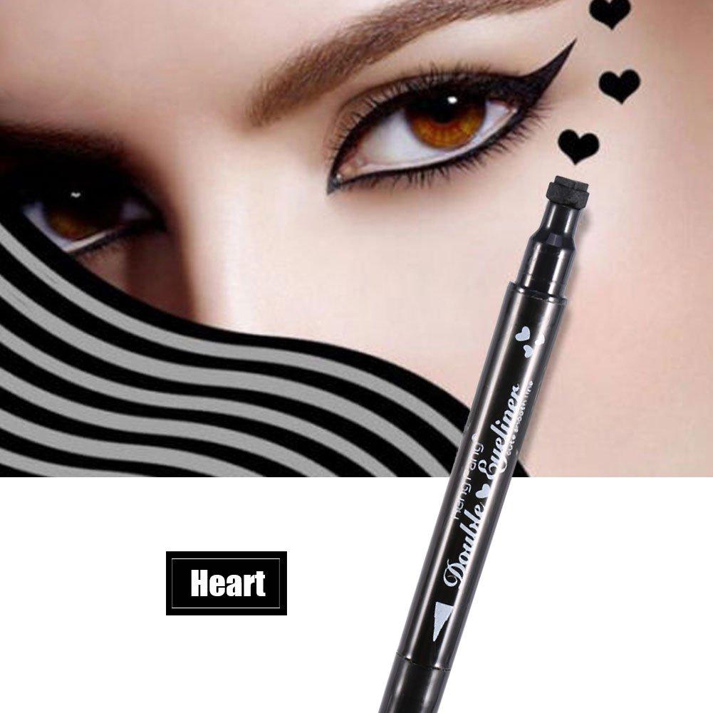 Delineador de ojos líquid, Impermeable y largo duradera doble cabeza Eyeline lápiz estrellas flores de la luna forma del corazón herramienta de decoración de maquillaje(Estrella) Brrnoo
