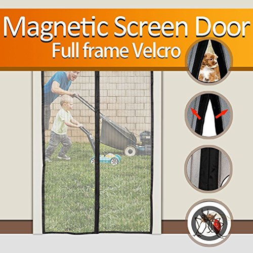 FYLINA Magnetic Screen Door Heavy Duty Mesh Curtain Screen and Full Frame Velcro, Top-to-Bottom Seal No Mosquitos...