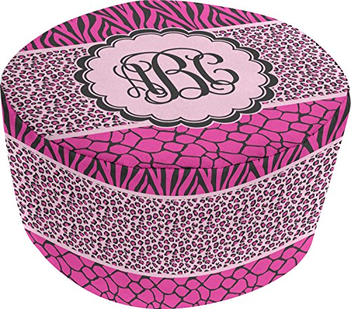 Triple Animal Print Round Pouf Ottoman (Personalized) by RNK Shops