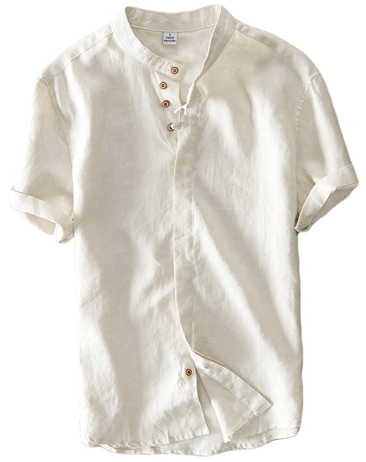 db47456f8 Color: white/khaki/navy blue. Features: front invisible buttons closure,  band collar(collarless), rolled short sleeves, straight fit