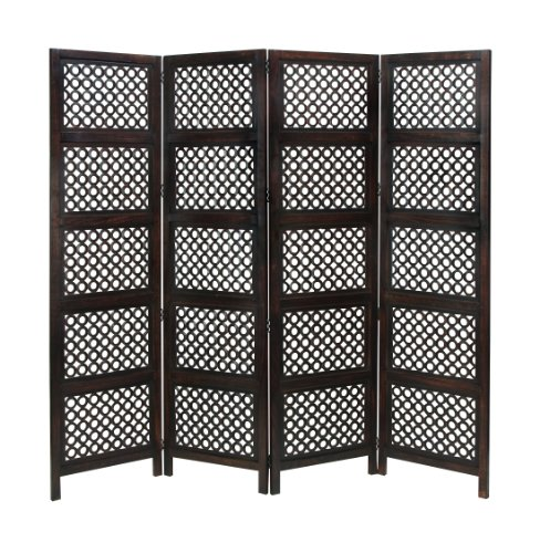Deco 79 A Stylish Hinged Wood 4 Panel Screen