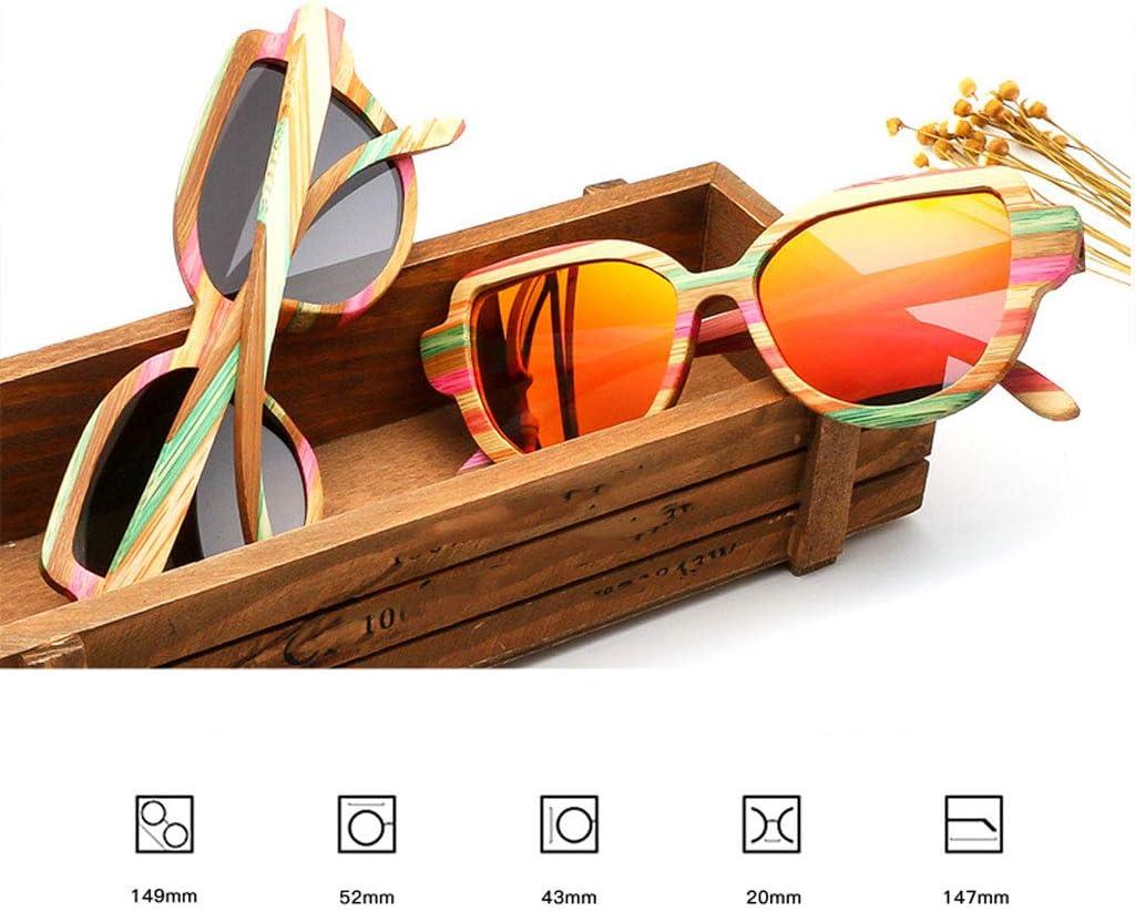 Occhiali sole Ms. Occhiali da Sole in Legno Stile Europeo ed Americano polarizzati in Legno Cat Eye Occhiali Colorati in bambù e Legno Occhiali Guida (Colore : Blu) Brown