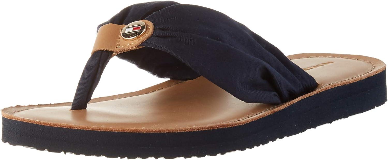 Tommy Hilfiger Leather Footbed Beach Sandal, Sandalias Punta Cerrada para Mujer