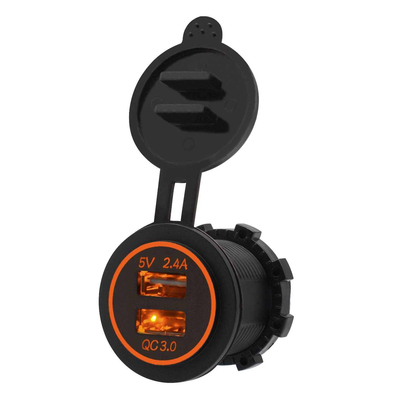 ShinePick Toma USB de Cargador,Cargador Rapido 3.0 Automó vil Cargador Impermeable con LED para 12V/24V Coches, Barcos y Marino, Motos, Camiones, SUV, UTV y Má s-(Led Rojo) UTV y Más-(Led Rojo)