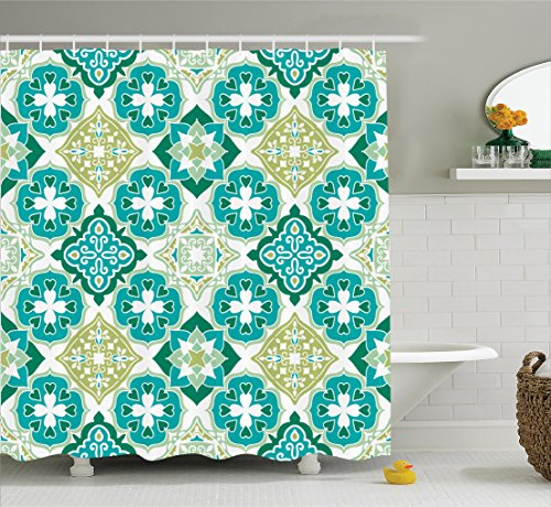 Moroccan Decor Shower Curtain Set By Ambesonne, Colored Tiled Pattern With Geometrical Diagonal And Triangle Forms Oldest Craft , Bathroom Accessories, 69W X 70L Inches, Green Teal White