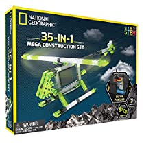 Mega Construction Engineering Set - Build 35 Unique Motorized Models: Helicopters, Cars, Animals and More - STEM Learning by National Geographic