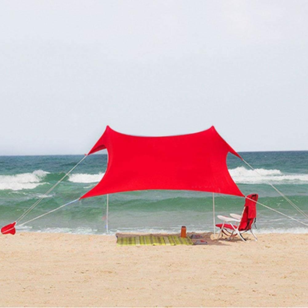 Gran Hamaca Impermeable toldo de Playa Familiar toldo Ligero con Anclaje de Bolsa de Arena UPF 50 Mobiliario y materiales para educación temprana UV Adecuado para Parques de Playa y al Aire Libre