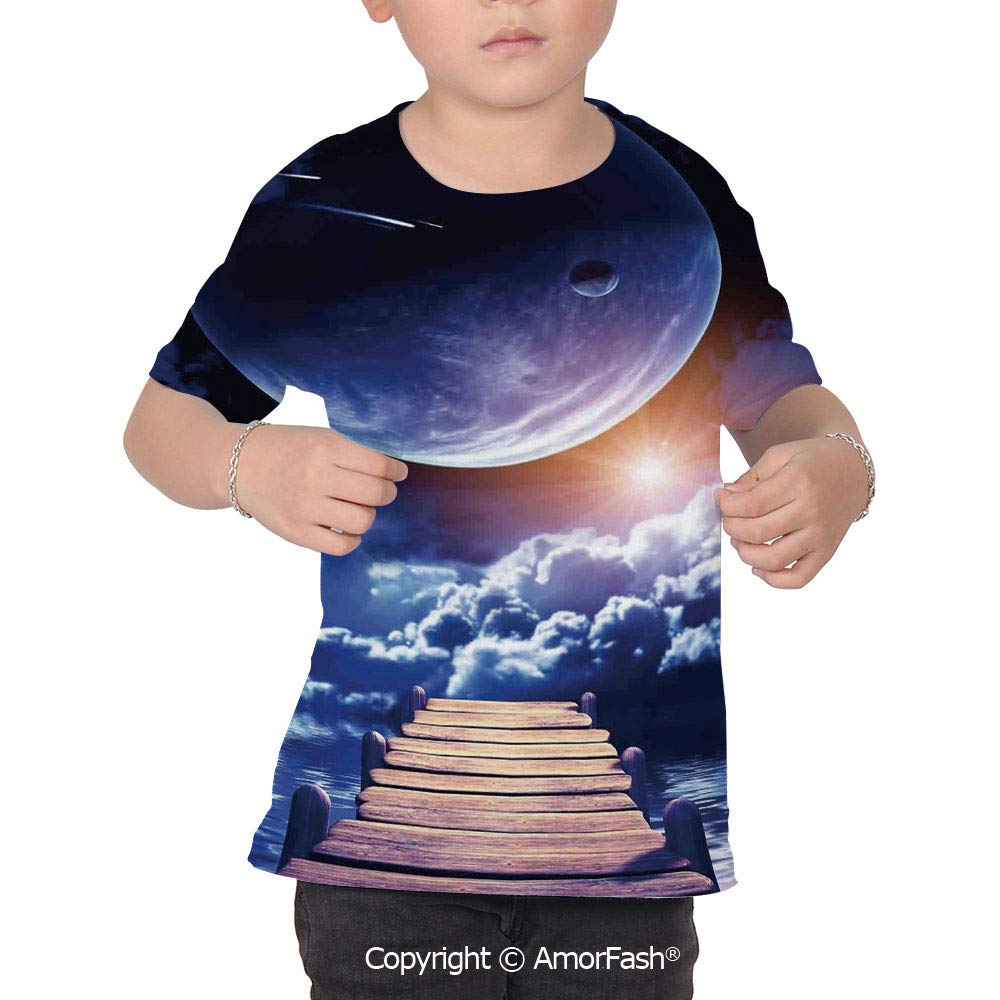 PUTIEN Outer Space Fantasy Decorations Colorful Boys and Girls Soft Short Sleeve T-Shir