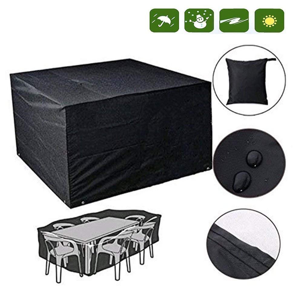 DaoRier Rectangular Table Chairs Protective Cover Waterproof Dustproof Folding 250 x 250 x 90cm Outdoor Furniture Set Cover Black