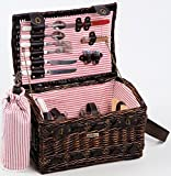 Cheap Willow And Seagrass Picnic Basket With Deluxe Service For Two