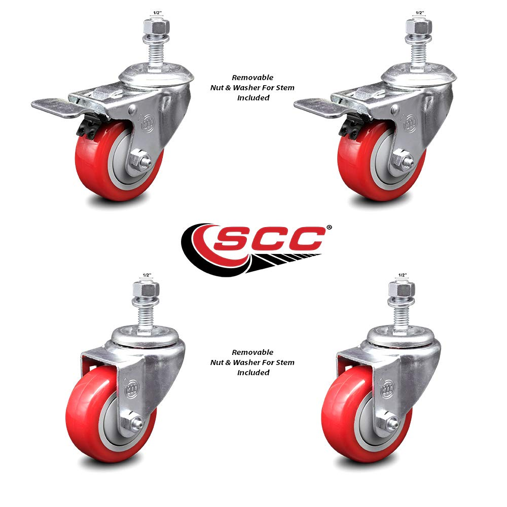 Service Caster Brand 1000 lbs Total Capacity Includes 2 with Top Locking Brake Red Polyurethane Swivel Threaded Stem Caster Set of 4 w//3 x 1.25 Wheels and 1//2 Stems