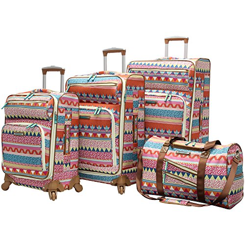 Lily Bloom Luggage 4 Piece Suitcase Collection With Spinner Wheels For Woman (On The Prowl)
