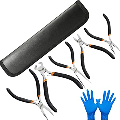 5 Piece Mini Pliers Set E.Durable Precision Pliers Set Craft & Jewelry Making Tool Kit - Needle Nose Long Nose Round Nose Diagonal Cutting End-Cut Pliers (5-Pack)