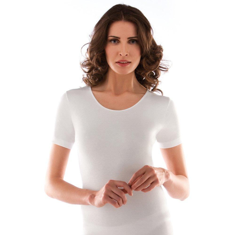 Liabel 2 camiciola donna mezza manica caldo cotone girocollo bianco art. 02828/D26 (4/M)