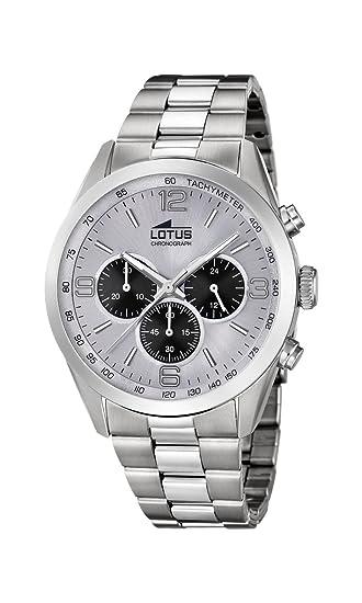 3cfd43536928 Lotus Watches Reloj Cronógrafo para Hombre de Cuarzo con Correa en Acero  Inoxidable 18152 7  Amazon.es  Relojes