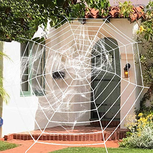 (BOMPOW Halloween Spider Web Decorations Giant 9 Circles Stretch Cobweb for Halloween Decor Outdoor and Indoor (White))