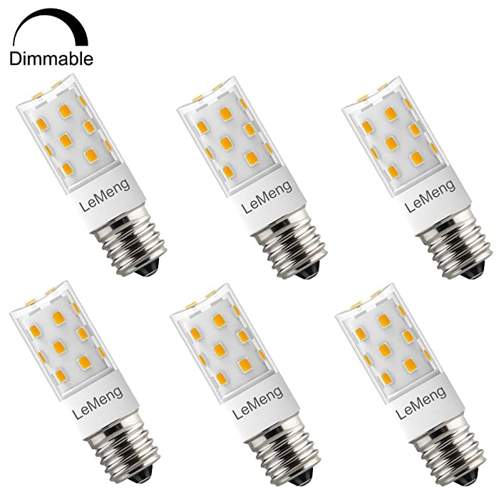 LeMeng E17 LED Bulb, Dimmable, 5W 500lm Warm White 2700K,35-50watt Halogen Replacement,AC 120V Appliance Bulbs Microwave Oven Stovetop Light,6-Pack.