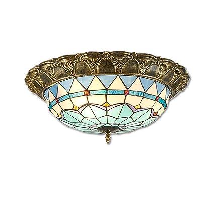 ☞ Luz de techo LED, lámpara de techo clásica de Tiffany, lámpara de ...