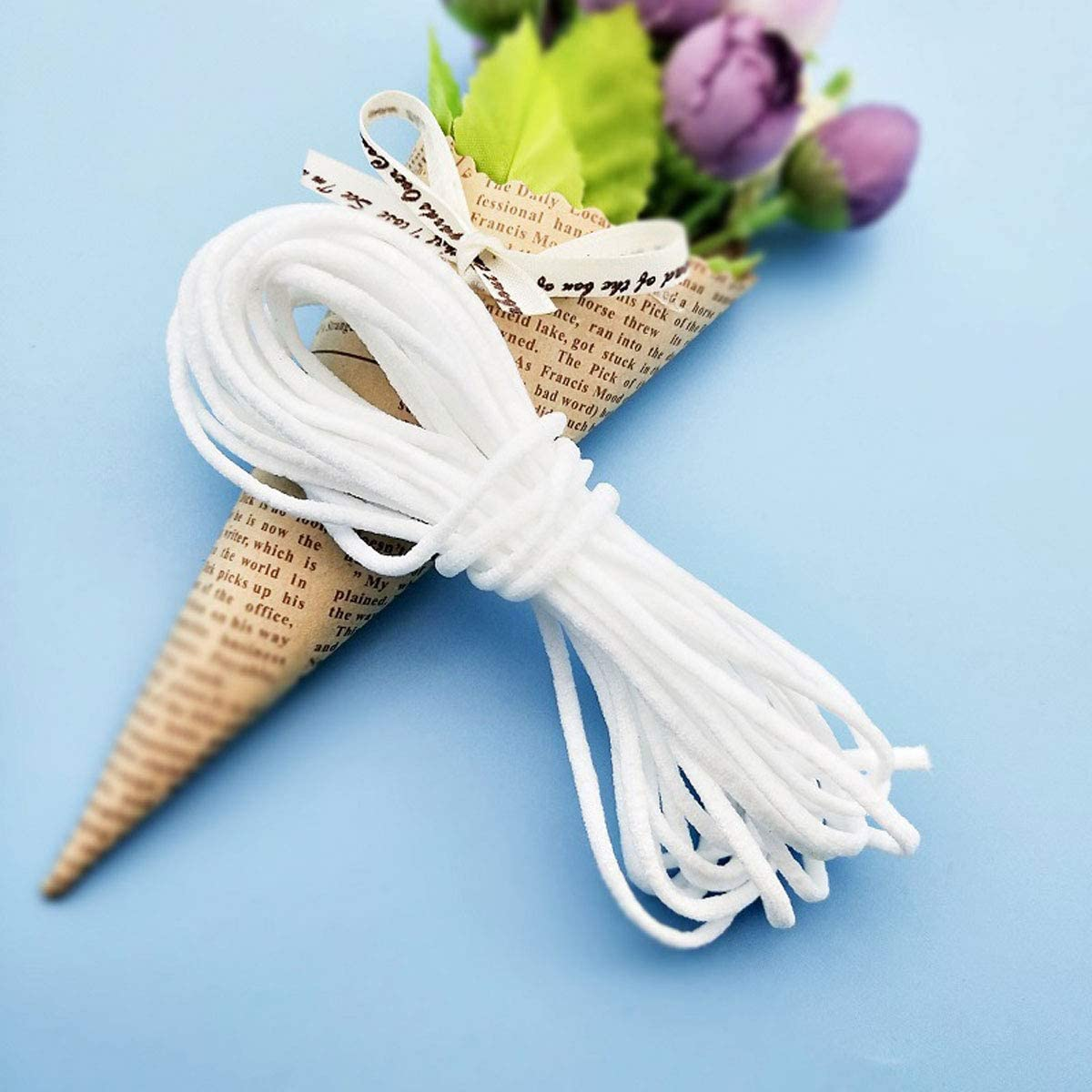 110 Yard Elastic Cord Earloop Sewing Strap String Cord for Sewing 1//8 inch White Elastic Rope Stretch Flat String Ear Tie Rope for Crafting,Hanging