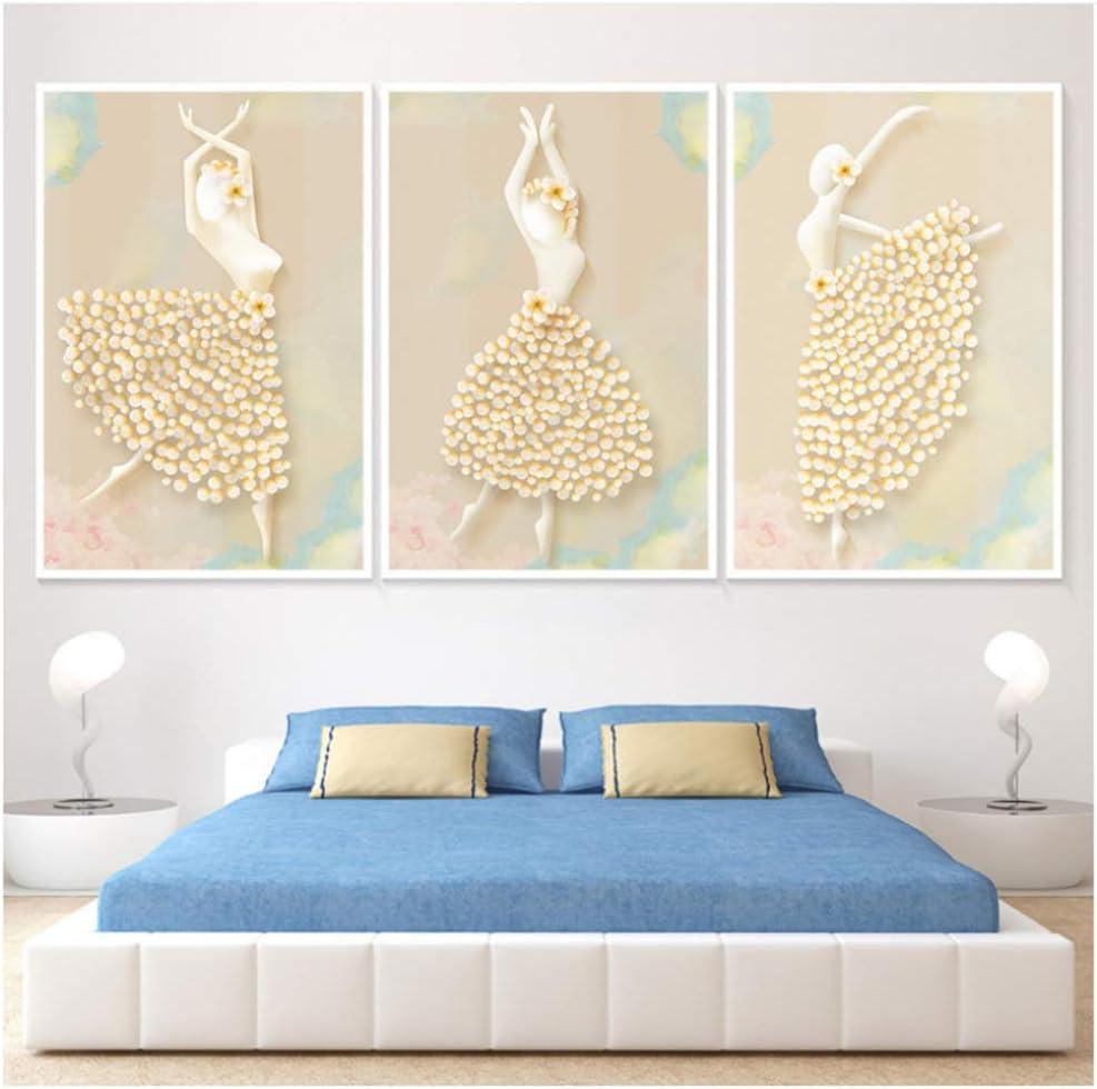 YANGYANGFBH Pintura en Lienzo Cuadros de Arte Moderno Bailarines de Ballet Pinturas Decorativas Simples Pinturas en Aerosol pintadas sobre lienzo-50x70cm Sin Marco