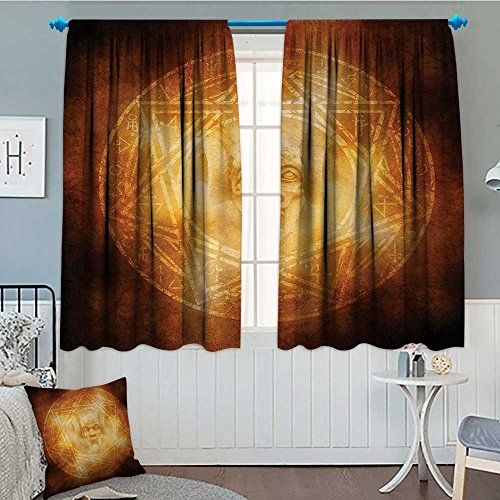 Anniutwo Horror House Blackout Window Curtain Demon Trap Symbol Logo Ceremony Creepy Scary Ritual Fantasy Paranormal Design Customized Curtains 63'' W x 72'' L Orange by Anniutwo