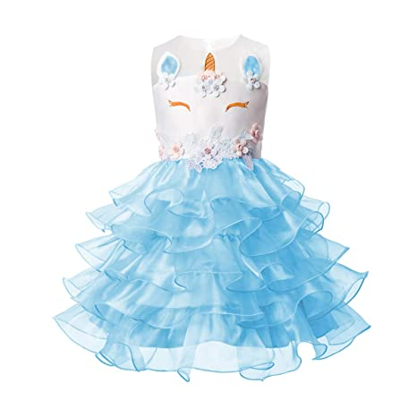 Amazon.com: Unicorn Flower Girl Dress up Costume Tiered Ruffled Tutu Skirt Pageant Princess Christmas Costume Kids Birthday Outfit: Clothing