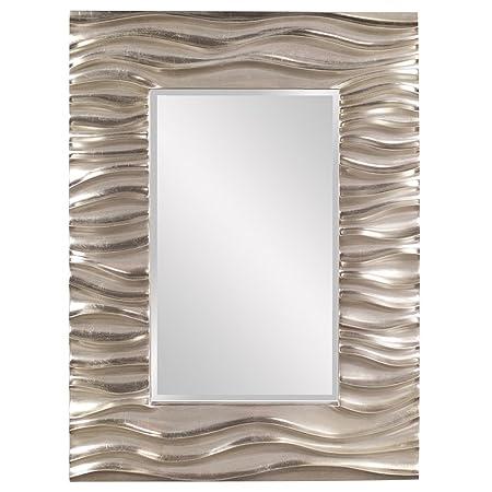 Howard Elliott Zenith Rectangular Hanging Wall Mirror, 31 x 39 Inch, Bright Silver Leaf