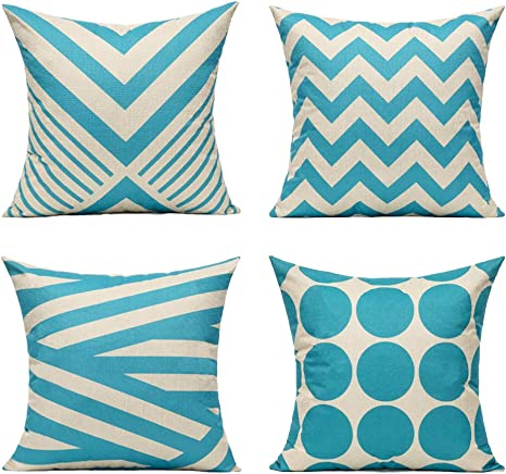 Amazon Com All Smiles Aqua Blue Outdoor Throw Pillow Cases Light Sky Blue Decorative Cushion Covers 18 X 18 Set Of 4 Home Decor Accent Square For Couch Sofa Patio Bed Living Room Modern