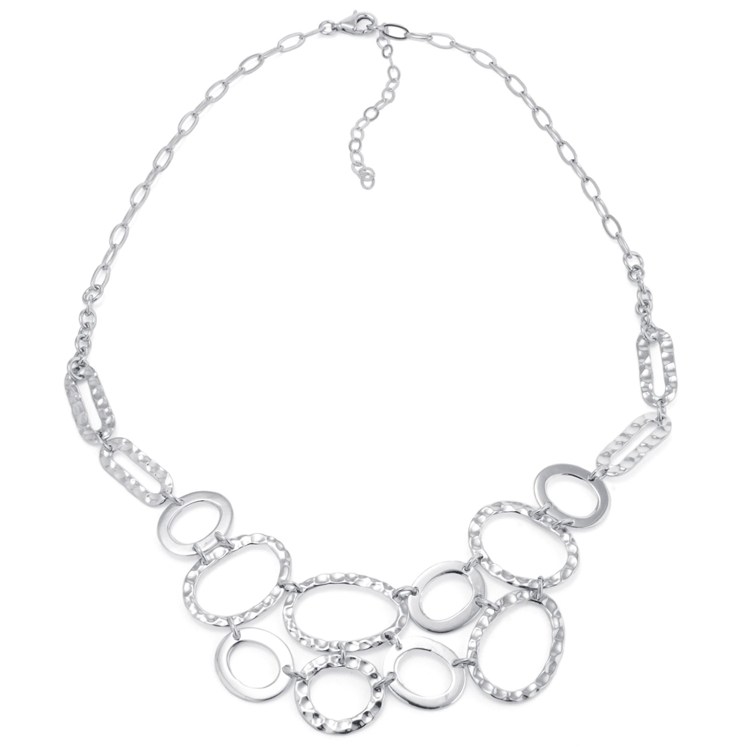Silver on the Web Sterling Silver Hammered Oval Necklace, 16'' with 2'' Extender