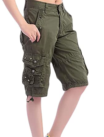 941d2fcdb0 Cromoncent Womens Multi-Pocket Knee Length Cargo Pants Cotton Summer Shorts  Army Green XX-Large at Amazon Women's Clothing store: