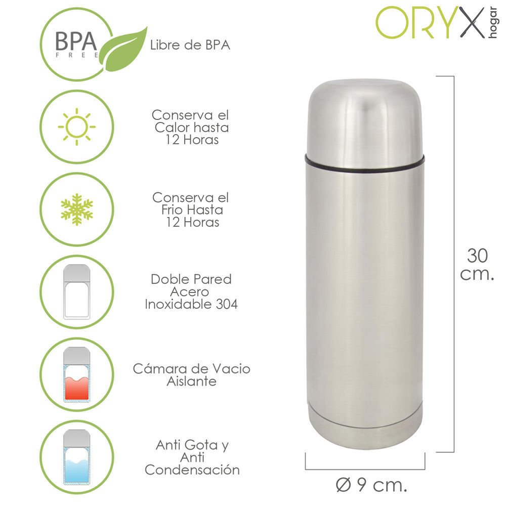 Oryx 5075010 Termo Liquidos Acero Inoxidable Antigoteo 750 Ml.
