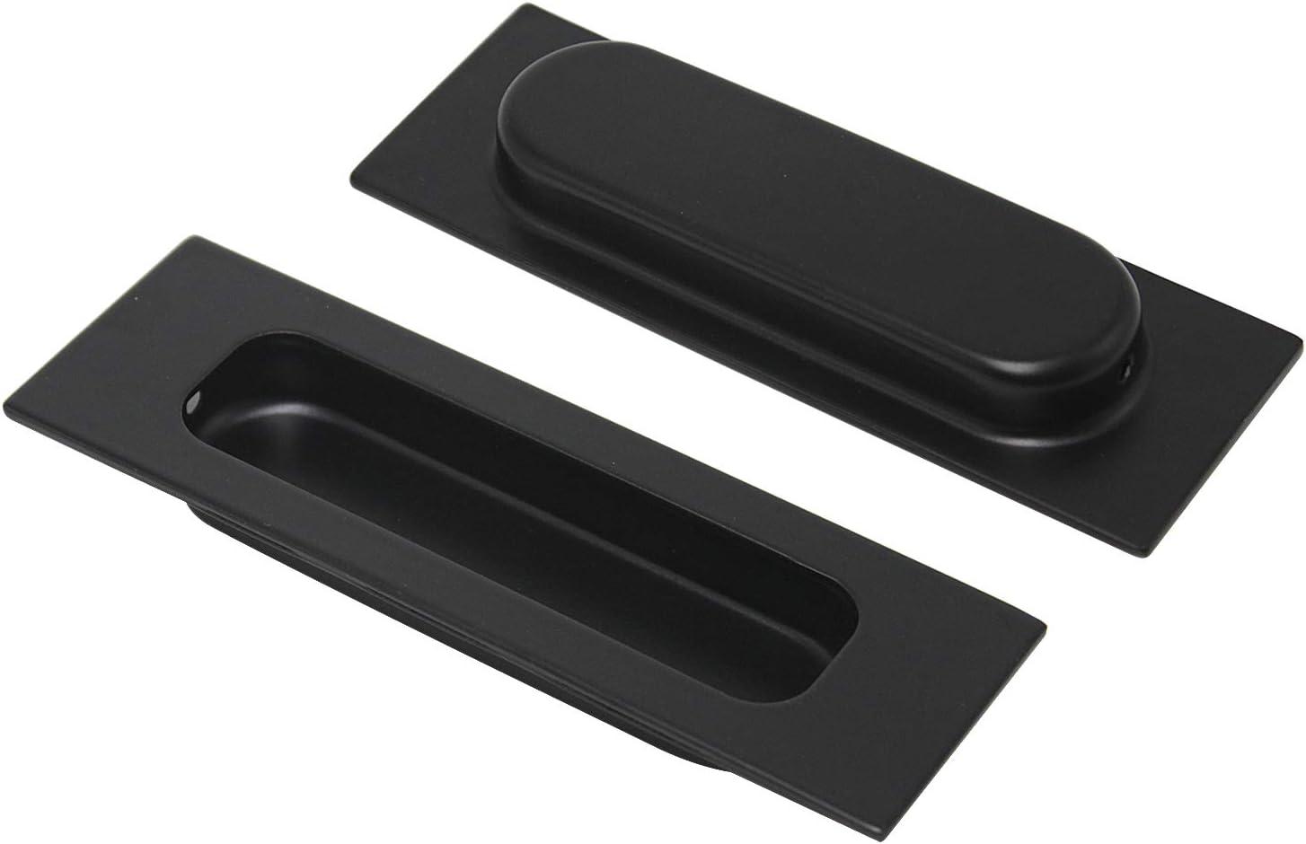 Pinson 007 Poign/ée de porte coulissante rectangulaire en acier inoxydable Noir 10,2 x 2,4 cm