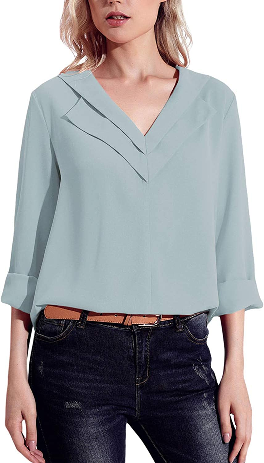 GOSOPIN Womens Chiffon Blouses V Neck Long Roll Sleeve Tops Casual Solid Color Tees