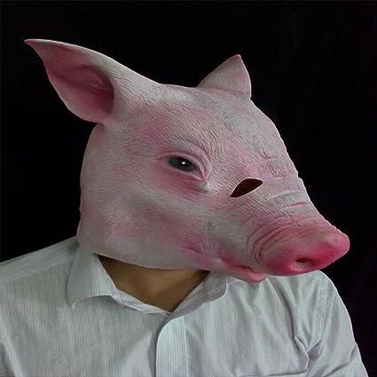 DRSMDR Linda Máscara De Cabeza De Cerdo Rojo, Máscara De Cerdo, Accesorios De La