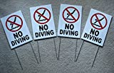 4Pc First-Rate Unique No Diving Symbol Yard Sign Plastic Message Board Decal Outdoor Warning Stand Pools Rules Decor Danger Signs Swimming Pond Post Pool Poster Lifeguard On Duty Size 8''x12'' w/ Stake