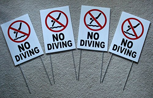4Pc First-Rate Unique No Diving Symbol Yard Sign Plastic Message Board Decal Outdoor Warning Stand Pools Rules Decor Danger Signs Swimming Pond Post Pool Poster Lifeguard On Duty Size 8