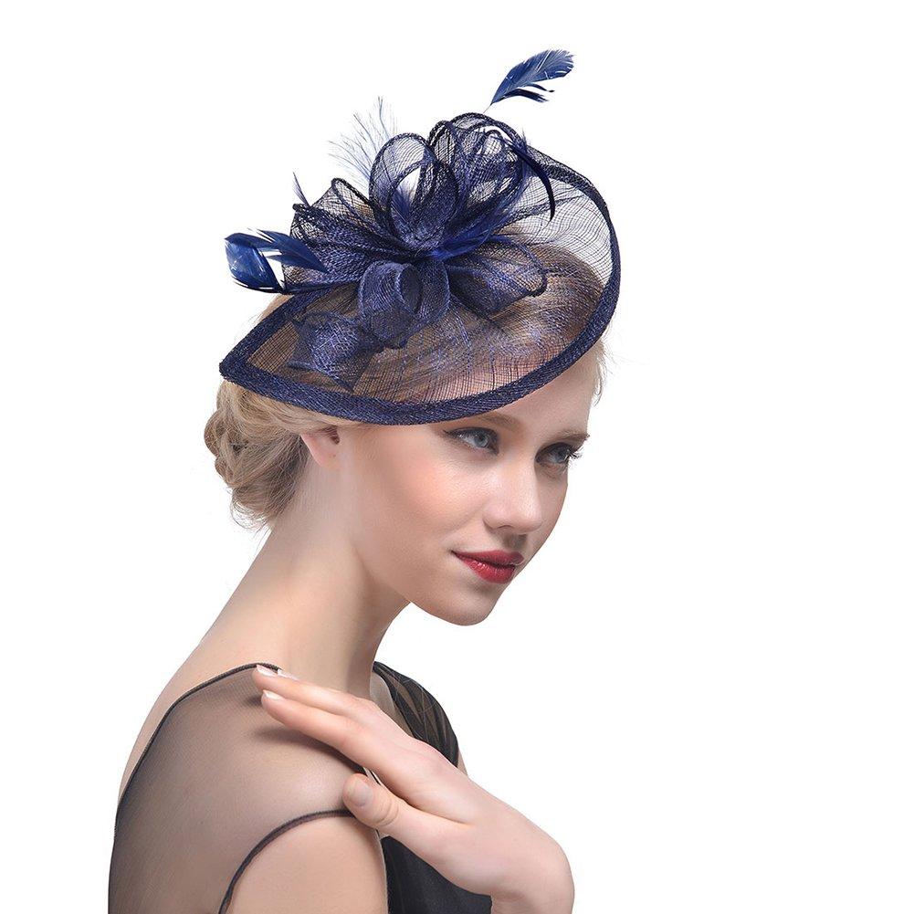 iKulilky Vintage Plume Fascinator Chapeau de Cérémonie a Fleur Bibi Chapeau Voilette Mariage Accessoires Pince à Cheveux Mariage Fête pour Femme Mariées
