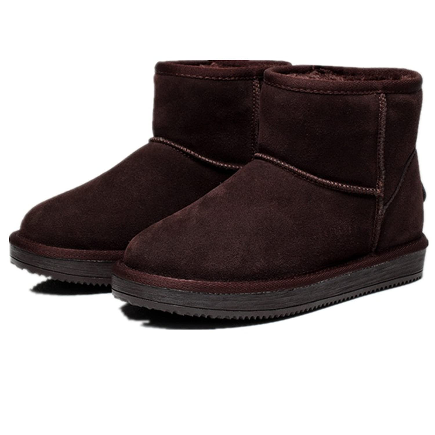 Fur Covered Womens Short version Snow Boots Fully Fur Lined Waterproof Winter Snow Boots Coffee