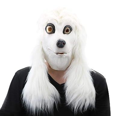 Amazon.com: Máscara de cabeza de animal de caniche de látex ...