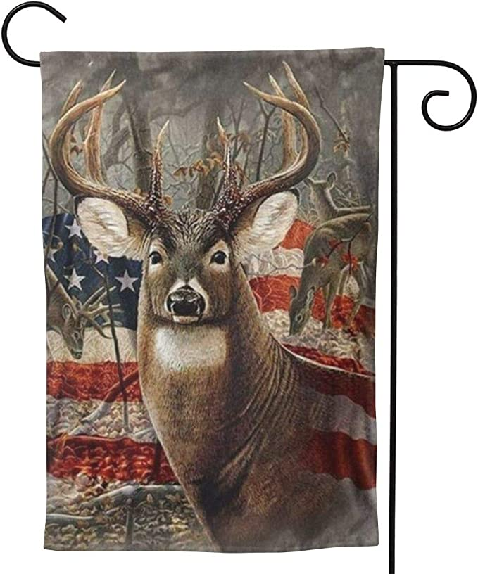 Amazon Com Delerain Us Flag With Deer Garden Flag 28 X 40 Inch Double Sided Design Weather Resistant Indoor Outdoor Decoration Small Banner For Home Yard Lawn Patio Office Garden Outdoor