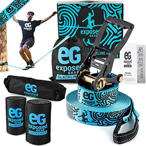 Exposed Gear Slackline Kit with Tree Protectors High Grade Ratchet + Cover Arm Trainer Set Up Instruction Booklet and Carry Bag | Classic 60 ft Slack Line Set | Perfect Slackline for Kids and Adults